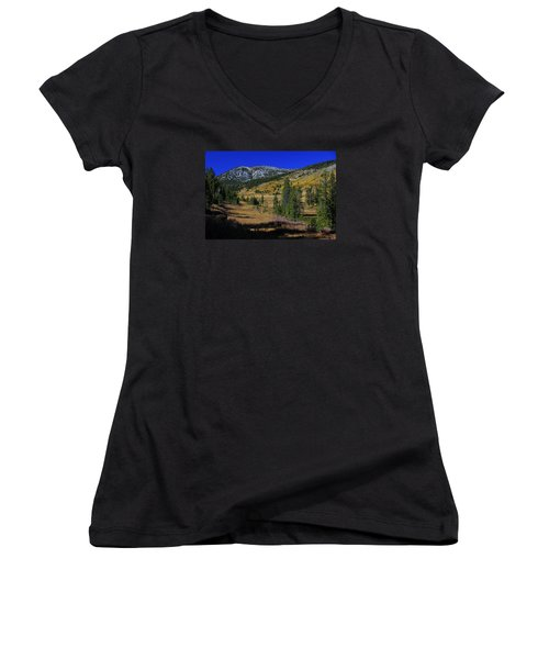 Women's V-Neck T-Shirt (Junior Cut) featuring the photograph Sierra Fall  by Sean Sarsfield