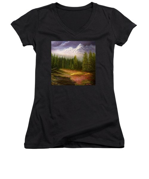 Sierra Spring Storm Women's V-Neck T-Shirt (Junior Cut) by Loxi Sibley