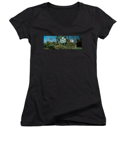 Signboard Of A Hotel, Beverly Hills Women's V-Neck T-Shirt (Junior Cut) by Panoramic Images