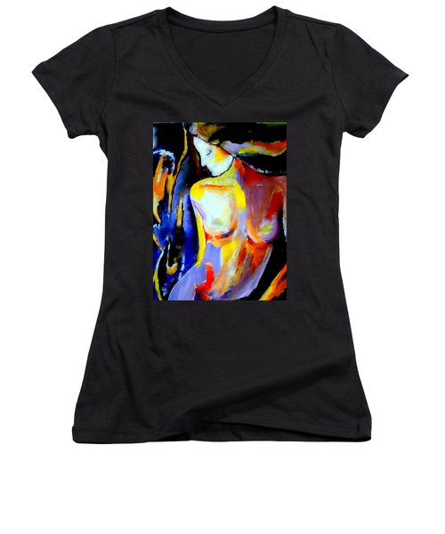 Women's V-Neck T-Shirt (Junior Cut) featuring the painting Silent Glow by Helena Wierzbicki