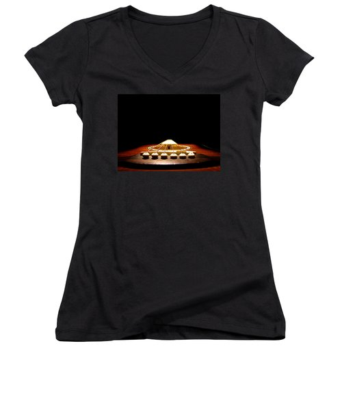 Silent Guitar Women's V-Neck T-Shirt (Junior Cut) by Greg Simmons