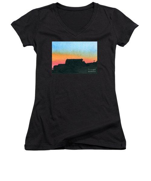 Silhouette Farmstead Women's V-Neck T-Shirt (Junior Cut) by R Kyllo