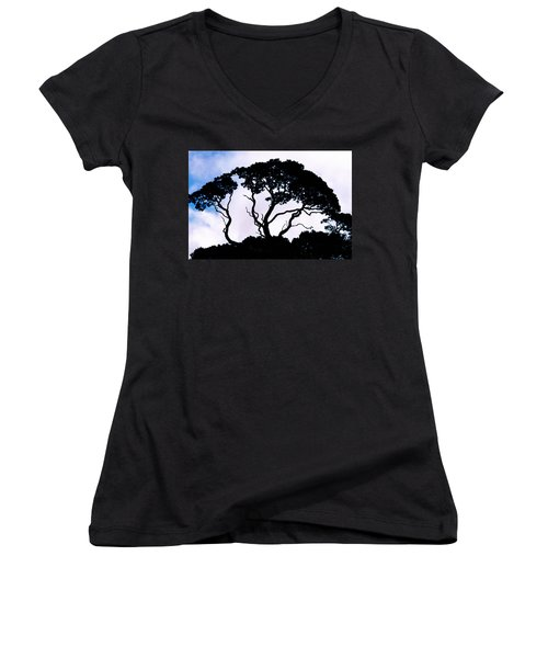 Women's V-Neck T-Shirt (Junior Cut) featuring the photograph Silhouette by Jim Thompson