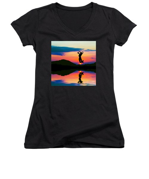 Silhouette Of Happy Woman Jumping At Sunset Women's V-Neck T-Shirt