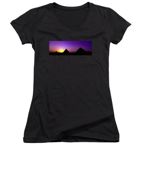 Silhouette Of Pyramids At Dusk, Giza Women's V-Neck