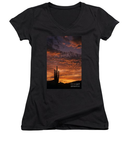 Silhouetted Saguaro Cactus Sunset At Dusk With Dramatic Clouds Women's V-Neck T-Shirt