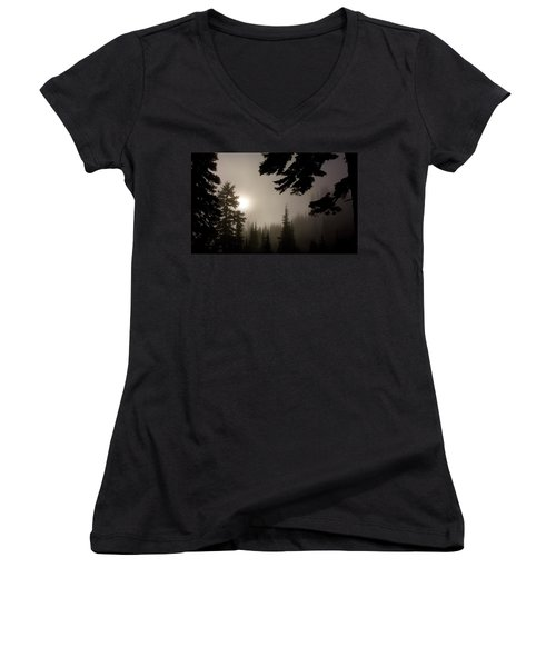 Silhouettes Of Trees On Mt Rainier Women's V-Neck T-Shirt (Junior Cut) by Greg Reed
