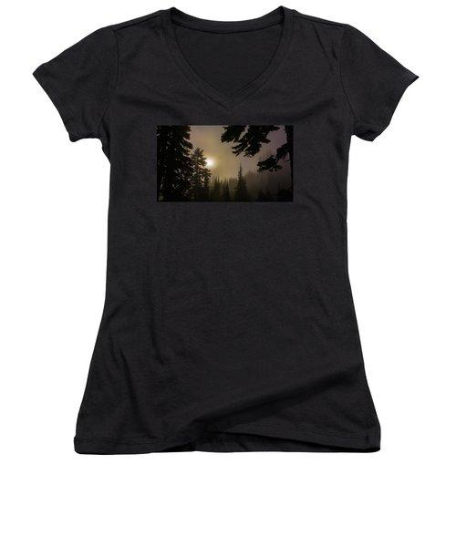 Silhouettes Of Trees On Mt Rainier II Women's V-Neck