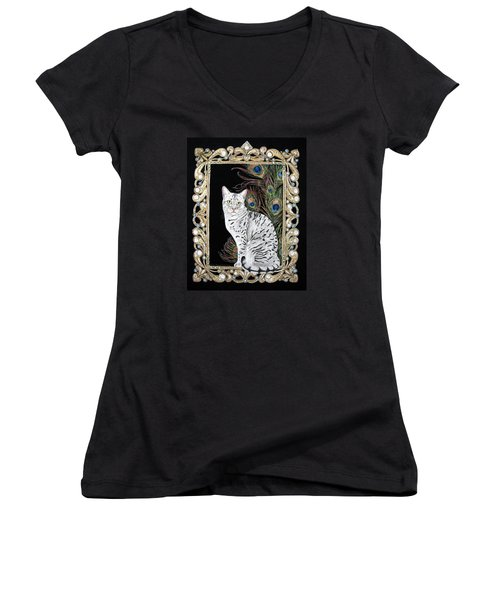 Silver Egyptian Mau Women's V-Neck T-Shirt