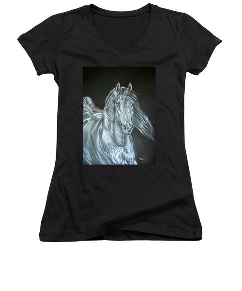 Silver Women's V-Neck T-Shirt (Junior Cut) by Leena Pekkalainen