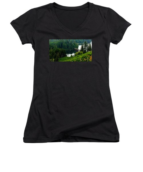 Women's V-Neck T-Shirt (Junior Cut) featuring the photograph Single Boat by Katie Wing Vigil