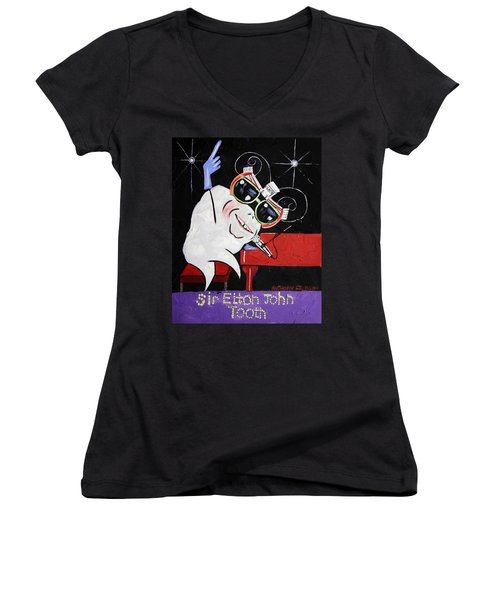 Sir Elton John Tooth  Women's V-Neck T-Shirt