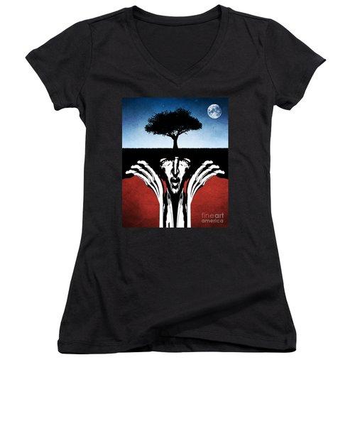 Women's V-Neck T-Shirt (Junior Cut) featuring the digital art Sir Real by Phil Perkins
