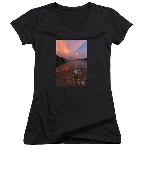 Sittin' On The Dock Women's V-Neck T-Shirt