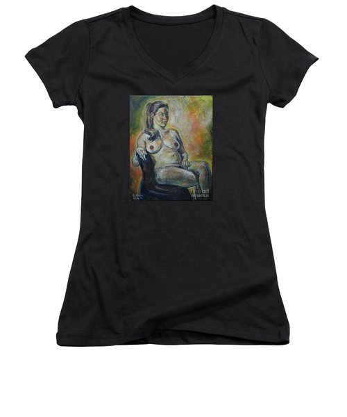 Sitting Nude Women's V-Neck (Athletic Fit)