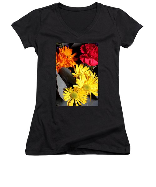 Six Dasies And A Carnation Women's V-Neck T-Shirt