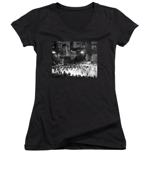 New York City - Skating Rink - Monochrome Women's V-Neck