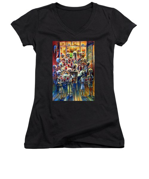 Women's V-Neck T-Shirt (Junior Cut) featuring the painting Skeleton Wine Party by Heather Calderon