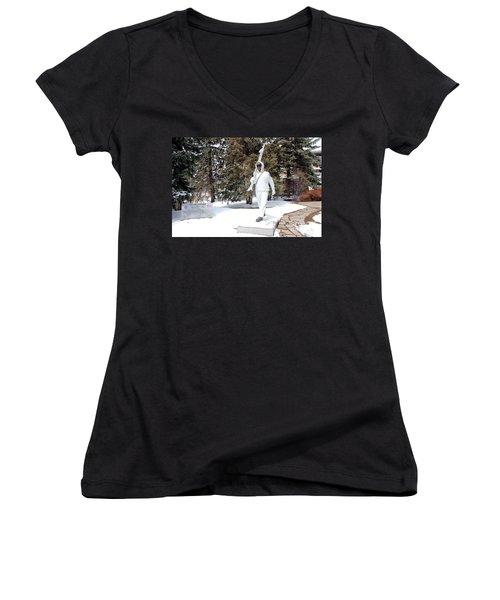 Ski Trooper Women's V-Neck T-Shirt (Junior Cut) by Fiona Kennard