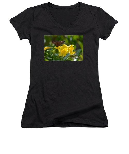 Women's V-Neck T-Shirt (Junior Cut) featuring the photograph Skipper Butterfly 2 by Debra Martz