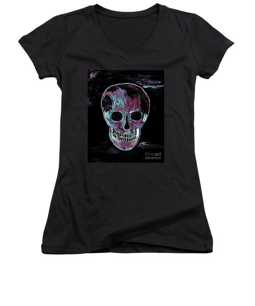 Skull Women's V-Neck T-Shirt (Junior Cut) by Annie Zeno