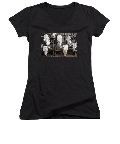 Skulls Of New Mexico Women's V-Neck (Athletic Fit)