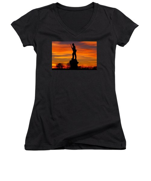 Women's V-Neck T-Shirt (Junior Cut) featuring the photograph Sky Fire - 128th Pennsylvania Volunteer Infantry A1 Cornfield Avenue Sunset Antietam by Michael Mazaika