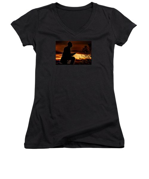 Women's V-Neck T-Shirt (Junior Cut) featuring the photograph Sky Fire - 1st Pa Cavalry Regiment-a1 Cemetery Ridge Near Copse Of Trees Dawn Autumn Gettysburg by Michael Mazaika