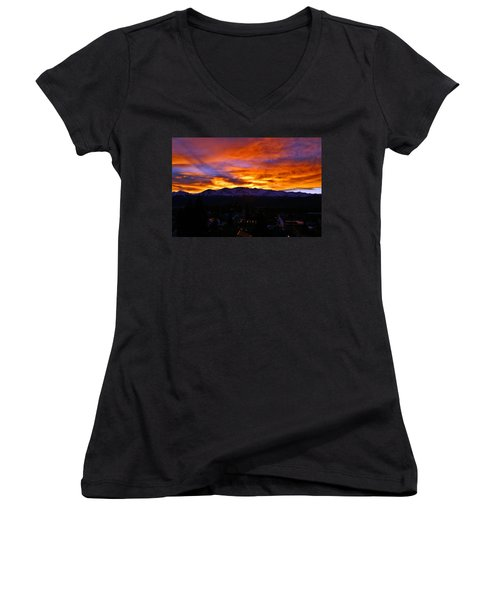 Women's V-Neck T-Shirt (Junior Cut) featuring the photograph Sky Shadows by Jeremy Rhoades