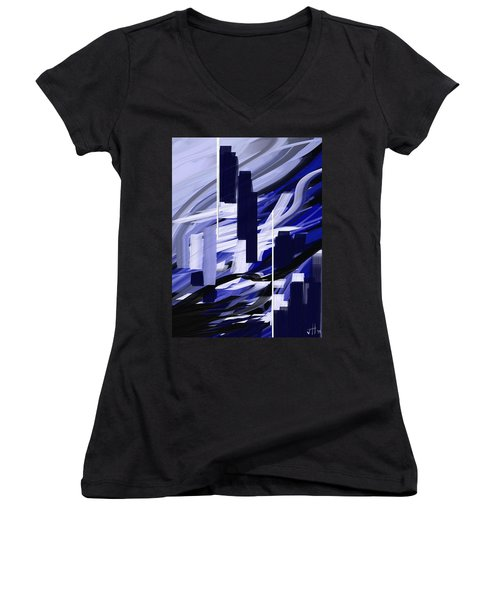 Women's V-Neck featuring the painting Skyline Reflection On Water by Jennifer Hotai