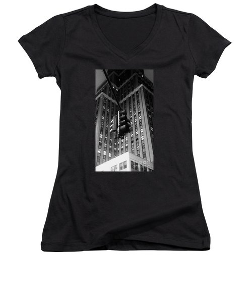 Skyscraper Framed Traffic Light Women's V-Neck T-Shirt