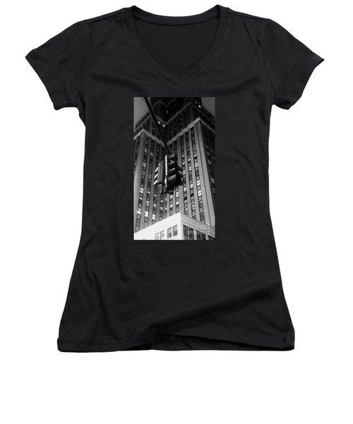Skyscraper Framed Traffic Light Women's V-Neck T-Shirt (Junior Cut) by James Aiken