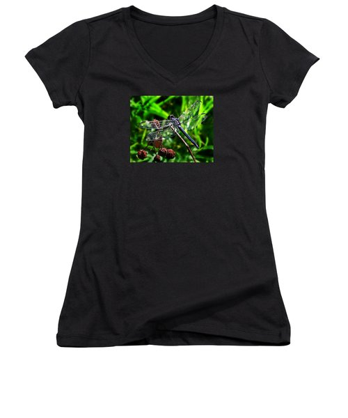 Slaty Skimmer Dragonfly Women's V-Neck T-Shirt (Junior Cut) by William Tanneberger