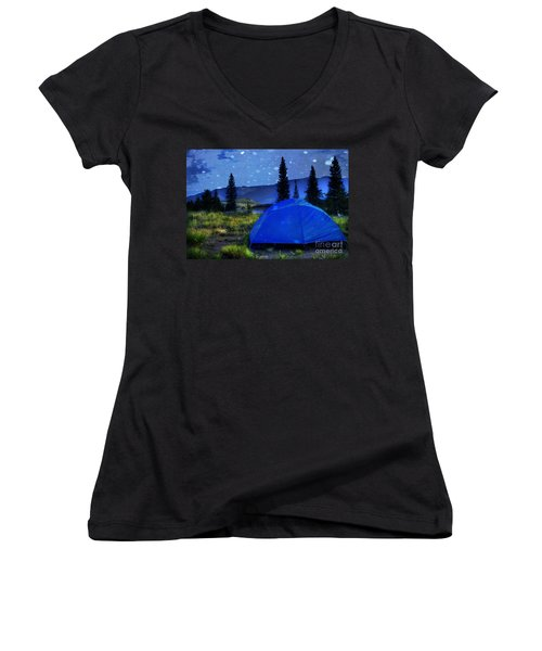 Sleeping Under The Stars Women's V-Neck (Athletic Fit)