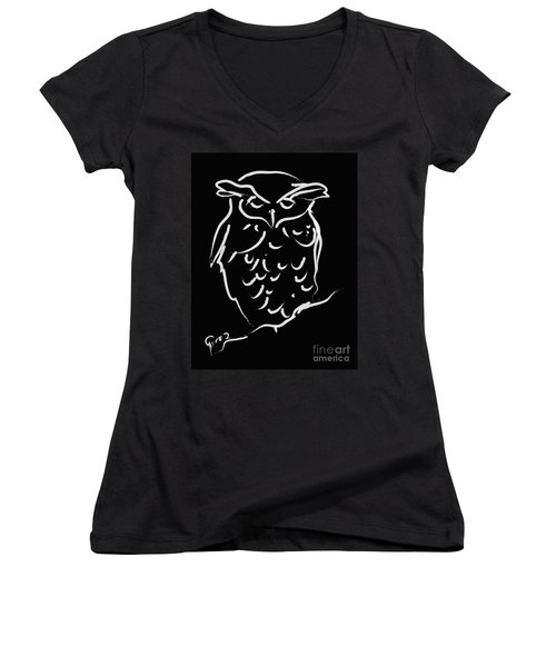 Sleepy Owl Women's V-Neck T-Shirt (Junior Cut) by Go Van Kampen