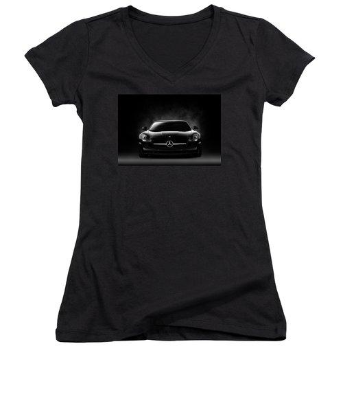 Sls Black Women's V-Neck T-Shirt (Junior Cut) by Douglas Pittman