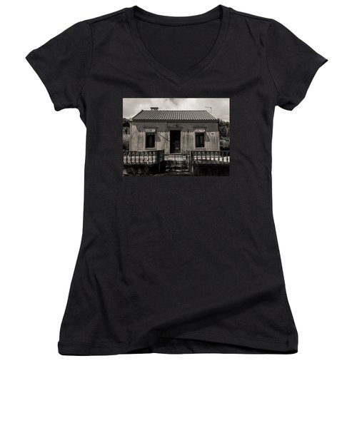 Small Country House With Tiled Roof  Women's V-Neck T-Shirt