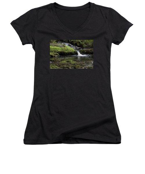 Small Falls On West Beaver Creek Women's V-Neck T-Shirt (Junior Cut) by Kathy McClure