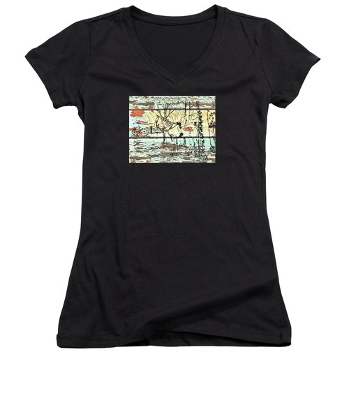 His First Horse  Women's V-Neck T-Shirt (Junior Cut) by Larry Campbell
