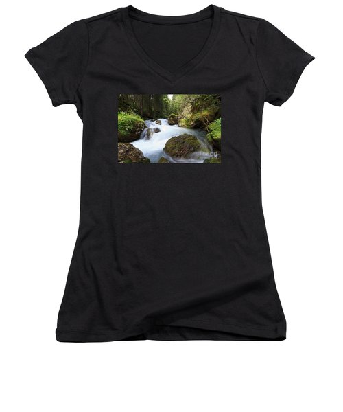 Women's V-Neck T-Shirt (Junior Cut) featuring the photograph Small Stream by Antonio Scarpi
