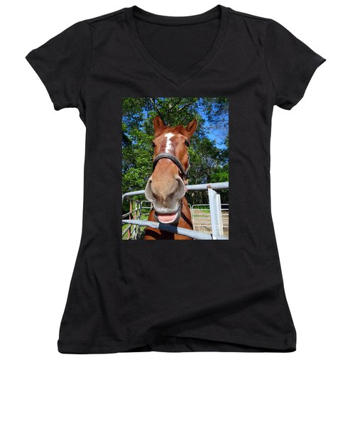 Women's V-Neck T-Shirt (Junior Cut) featuring the photograph Smile by Ed Weidman