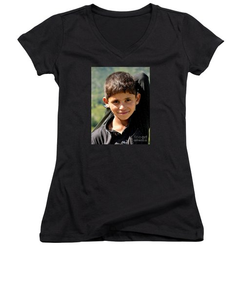 Women's V-Neck T-Shirt (Junior Cut) featuring the photograph Smiling Boy In The Swat Valley - Pakistan by Imran Ahmed