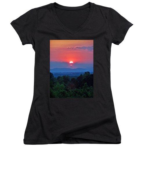 Smokey Mtn Sunset Women's V-Neck