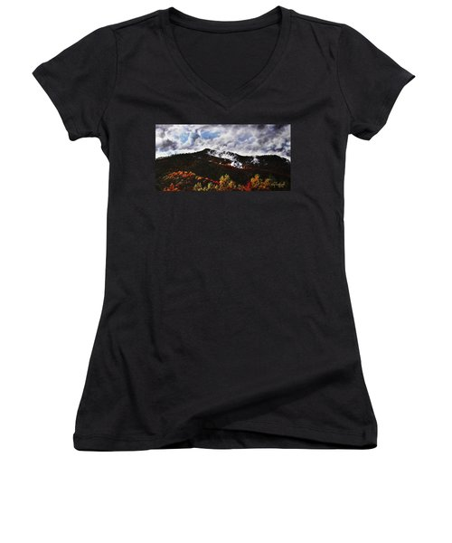 Women's V-Neck T-Shirt (Junior Cut) featuring the painting Smoky Mountain Angel Hair by Craig T Burgwardt