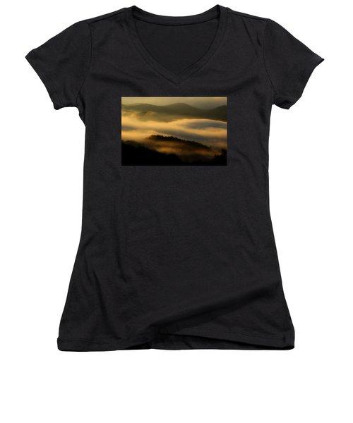 Smoky Mountain Spirits Women's V-Neck T-Shirt (Junior Cut) by Michael Eingle