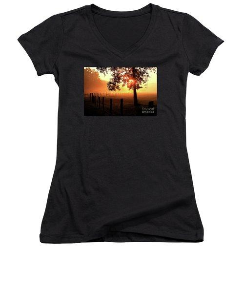 Smoky Mountain Sunrise Women's V-Neck T-Shirt