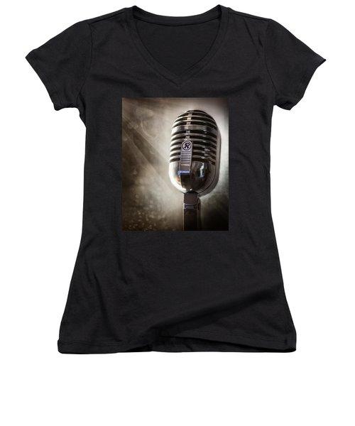 Smoky Vintage Microphone Women's V-Neck