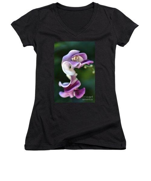 Women's V-Neck T-Shirt (Junior Cut) featuring the photograph Snail Flower by Joy Watson
