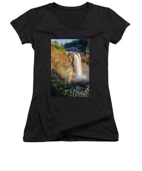 Snoqualmie Falls  Women's V-Neck T-Shirt (Junior Cut) by Sonya Lang