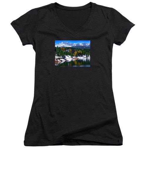 Snow Capped Pikes Peak At Crystal  Women's V-Neck T-Shirt (Junior Cut) by John Hoffman